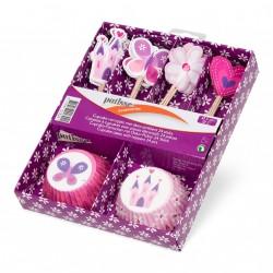 Set Caissettes Papier Cupcakes avec Piques Décoratifs 24 pcs