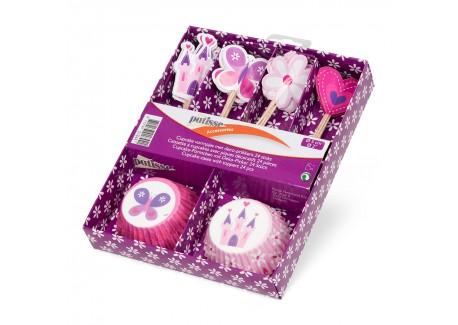 Set Caissettes Papier Cupcakes avec Piques Décoratifs 24 pcs  - Patisse