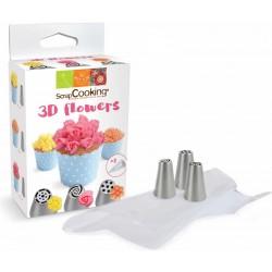 Kit 3 Russisch Spuitmonden 3D Flowers + 3 Spuitzakken  - Scrapcooking