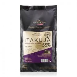Chocolat Noir Itakuja 55% Sac Fèves 3 kg  - Valrhona