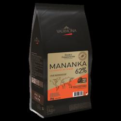 Chocolat Noir Mananka 62% Sac Fèves 3 kg  - Valrhona