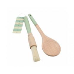 Set Cuillère en Bois et Pinceau à Pâtisserie Manche Vert - T-G Woodware