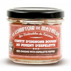 Confit d'Oignons Rouges au Piment d'Espelette 90 g - Comptoir de Mathilde