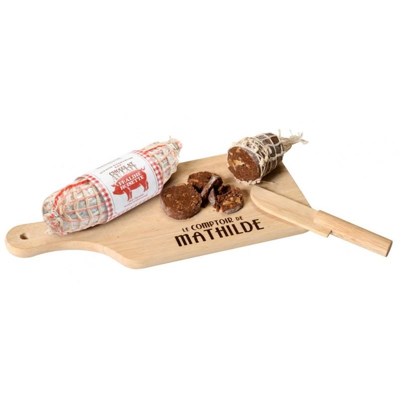Comptoir de mathilde saucisson en chocolat au lait pralin noisette avec planche d couper - Planche a decouper saucisson ...
