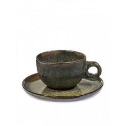 Sergio Herman Surface Tasse Cappuccino avec Sous-Tasse Indi Grey  - Serax