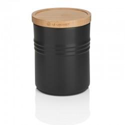 Pot de Stockage avec Couvercle en Bois 0,65 l Noir Satin  - Le Creuset