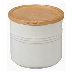 Pot de Stockage avec Couvercle en Bois 1,5 l Blanc Coton  - Le Creuset