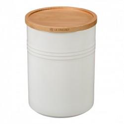 Pot de Stockage avec Couvercle en Bois 0,65 l Blanc Coton  - Le Creuset