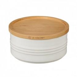 Pot de Stockage avec Couvercle en Bois 0,67 l Blanc Coton  - Le Creuset