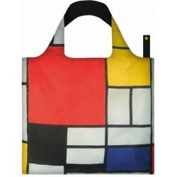 Sac Réutilisable Pliable Mondrian Composition de Rouge, Jaune, Bleu et Noir - LOQI