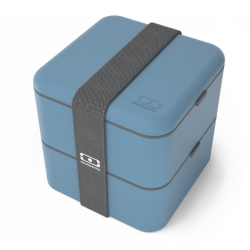 Square Bento LunchBox Blauw Denim  - MonBento