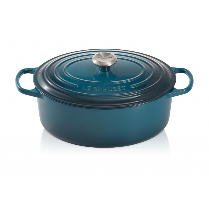 le creuset cocotte signature ovale 4 7 l bleu deep teal 29 cm les secrets du chef. Black Bedroom Furniture Sets. Home Design Ideas