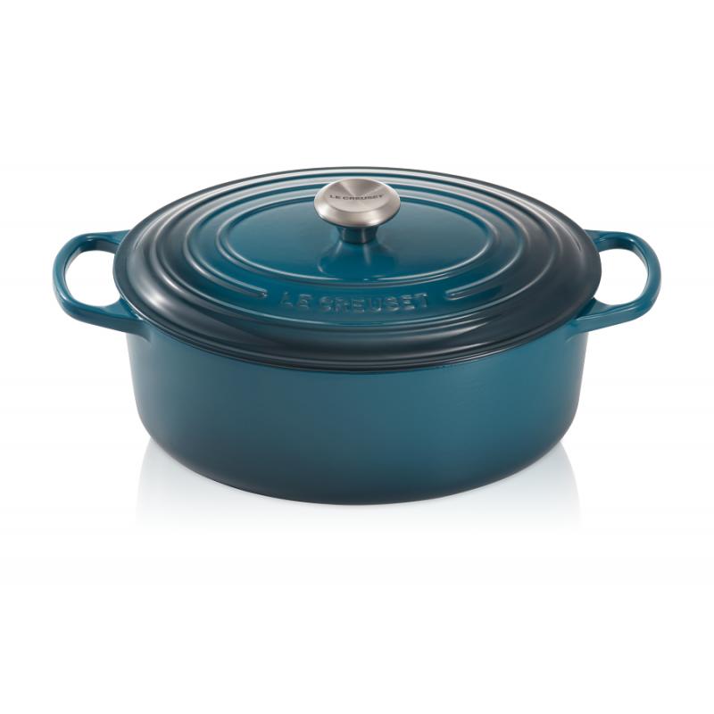 le creuset cocotte signature ovale 6 3 l bleu deep teal 31 cm les secrets du chef. Black Bedroom Furniture Sets. Home Design Ideas