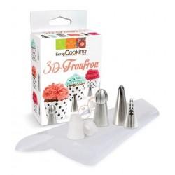 Kit 3D Froufrou 2 Douilles Koréenne + 1 Demi-Sphere + 3 Poches à Douilles - Scrapcooking