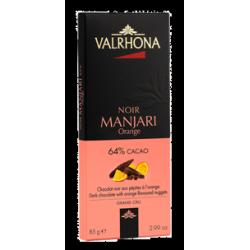 Donkere Chocolade Manjari Oranje Stukjes Tablet 85 g - Valrhona