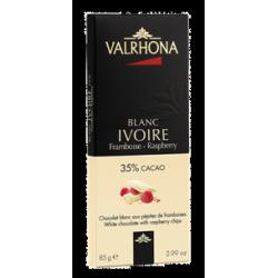 Chocolat Blanc Ivoire Pépites de Framboise Tablette 85 g - Valrhona