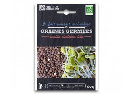 Sachet Graines à Germer Radis Daikon Bio 50 g - Radis et Capucine