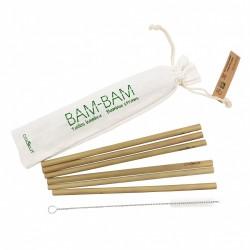 Bamboe herbruikbare drinkrietjes 6 dlg + Flessenborstel - Cookut