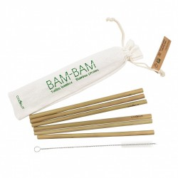 Pailles Réutilisables en Bambou 6 pcs + Goupillon  - Cookut