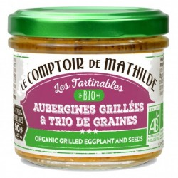 Tartinable Bio Aubergines Grillés et trio de graines  - Comptoir de Mathilde