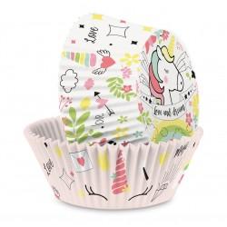 Caissettes Papier Cupcakes Licorne 36 pcs 3 cm