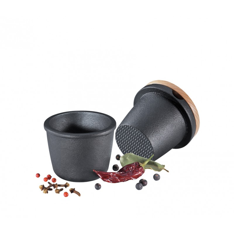 zassenhaus pilon et mortier en fonte noir. Black Bedroom Furniture Sets. Home Design Ideas