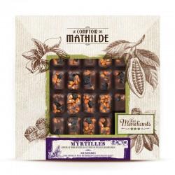 Mendiant Donkere Chocolade Bosbessen en Gekarameliseerde Pecannoten 240 g  - Comptoir de Mathilde