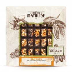 Mendiant Donkere Chocolade Oranje en Gekarameliseerde Gedroogde Vruchten 240 g