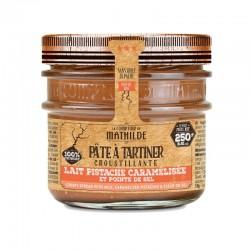 Pâte à Tartiner Croustillante Chocolat Lait Pistache Caramélisée 250 g