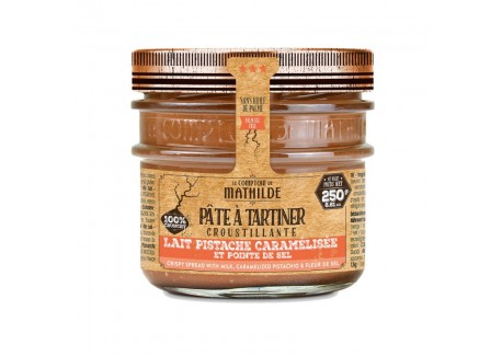 Pâte à Tartiner Croustillante Chocolat Lait Pistache Caramélisée 250 g  - Comptoir de Mathilde