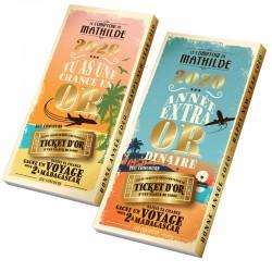 Chocolade Reep met Golden Ticket Chocolademelk en Hazelnoten 100 g - Comptoir de Mathilde