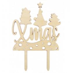 "Houten Kerst Cake Topper ""Xmas"" - Scrapcooking"