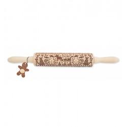 Gedessineerde Houten Deegrol voor Kerstkoekjes 39 cm - Scrapcooking