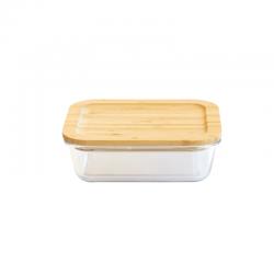 Recthoekige Glazen Opbergdoos met Bamboe Deksel 1 l - Pebbly