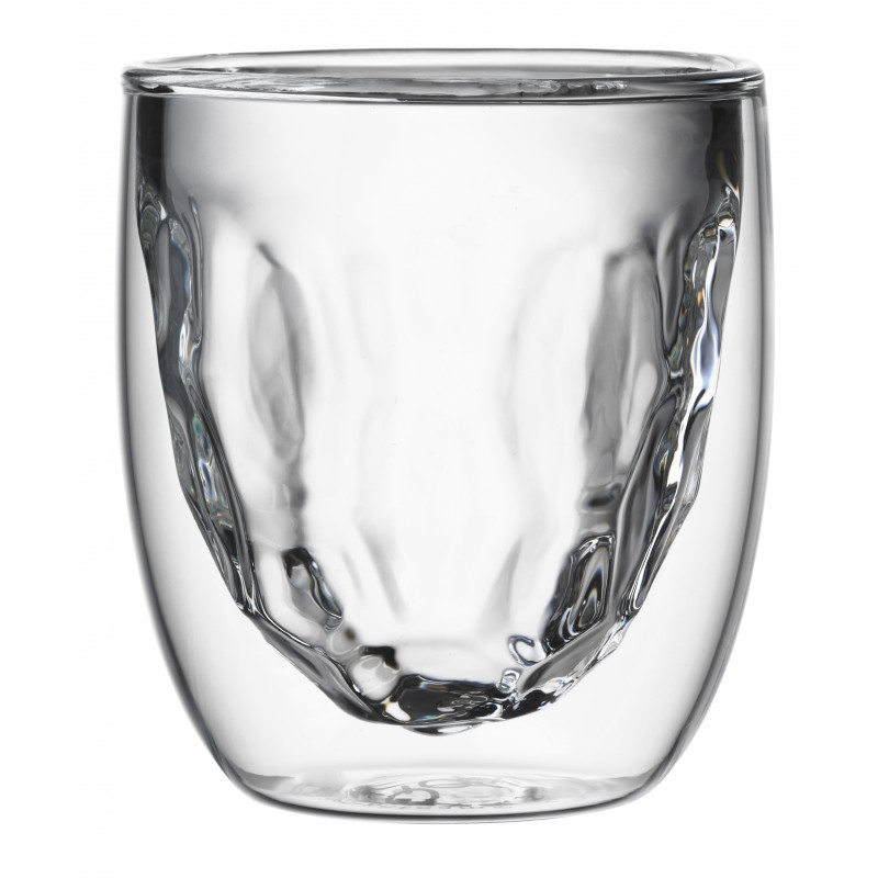 qdo set de 2 verres double paroi metal 75 ml les secrets du chef. Black Bedroom Furniture Sets. Home Design Ideas